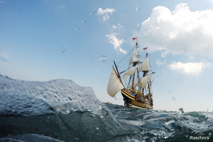 The newly renovated Mayflower II, a replica of the original ship that sailed from England in 1620, sails back to its berth in Plymouth, Massachusetts, Aug. 10, 2020.