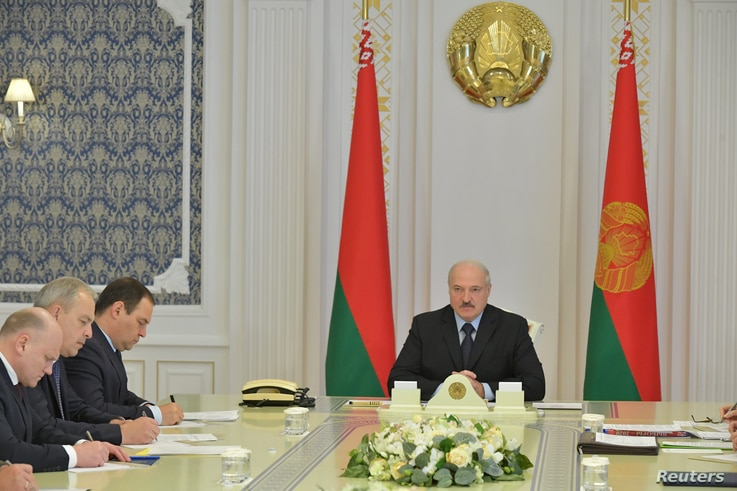Belarusian President Alexander Lukashenko chairs a meeting on topical issues in Minsk, Aug. 12, 2020.