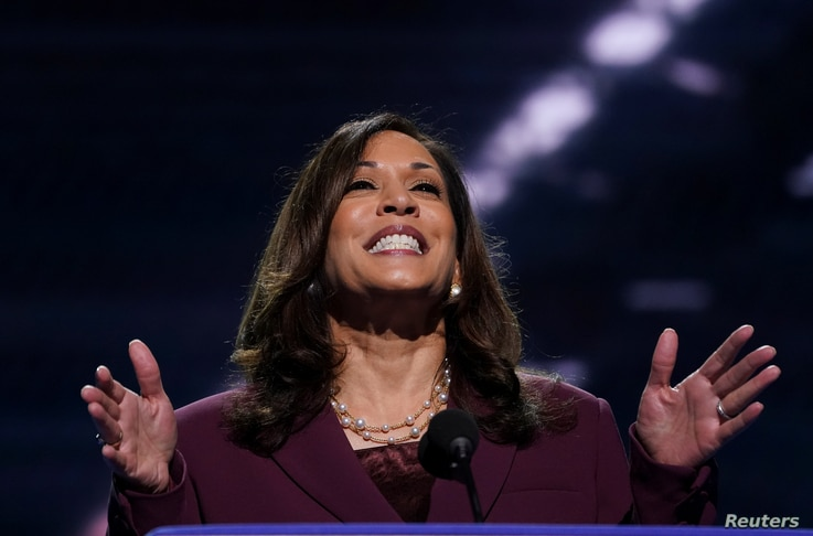 U.S. Senator Kamala Harris (D-CA) accepts the Democratic vice presidential nomination during an acceptance speech delivered for the largely virtual 2020 Democratic National Convention from the Chase Center in Wilmington, Delaware, Aug. 19, 2020.