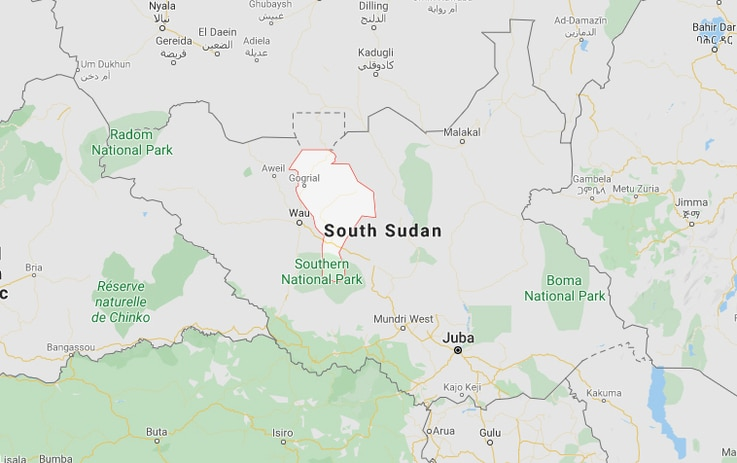 Map of South Sudan with Warrap state highlighted (Google Maps)