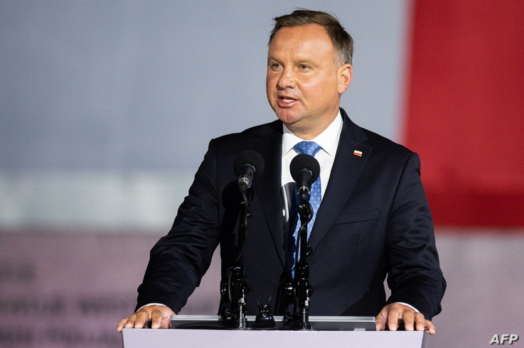 Polish President Andrzej Duda speaks to the crowd during an event to commemorate the outbreak of World War II in Gdansk -…