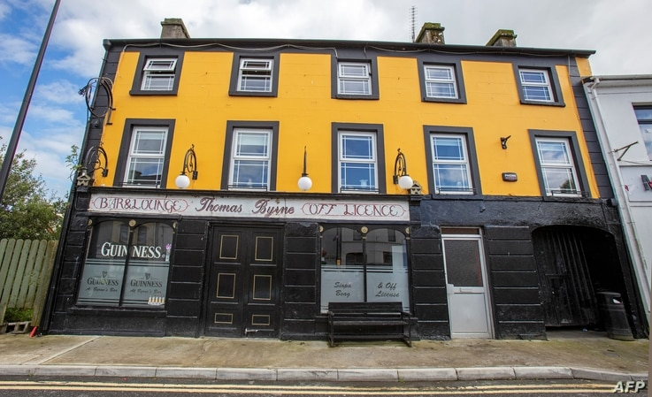 The closed Thomas Byrne bar is pictured in the rural village of Dunmore, west of Ireland, on September 3, 2020. - In the pubs…