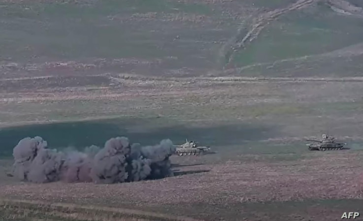 An image grab taken from a video made available on the official web site of the Armenian Defence Ministry on September 27, 2020…