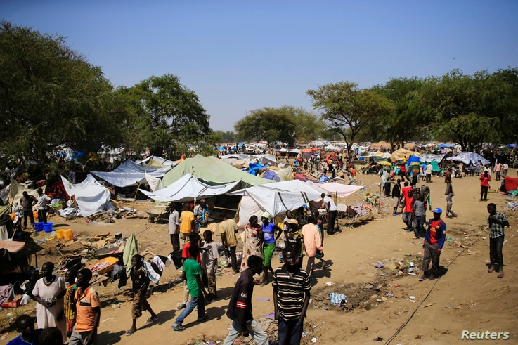 A general view of a camp for displaced people set up in a United Nations compound in Bor, 180 km (108 miles) northwest from…