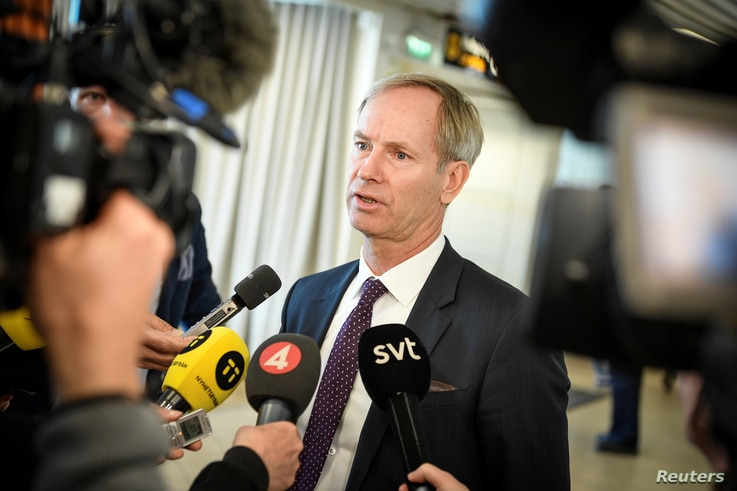 Sweden's ambassador to the United Nations Olof Skoog speaks to journalists during a news conference, after the annual informal…