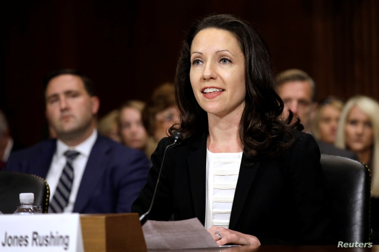 Allison Jones Rushing testifies before a Senate Judiciary confirmation hearing on her nomination to be a United States circuit…