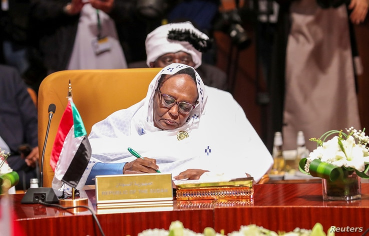 Foreign Minister of Sudan Asma Mohamed Abdalla attends a meeting of foreign ministers of Arab and African countries of the Red…
