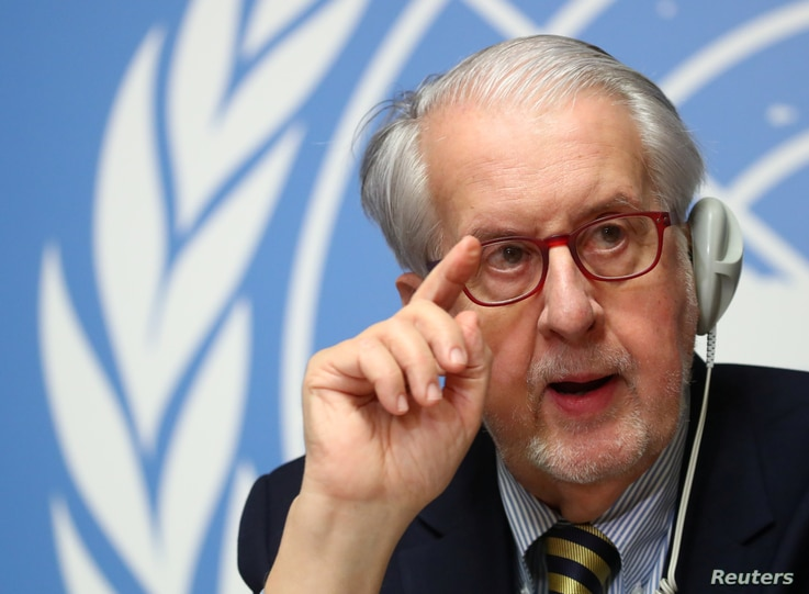 Paulo Pinheiro, Chairperson of the Independent Commission of Inquiry on the Syrian Arab Republic attends a news conference…