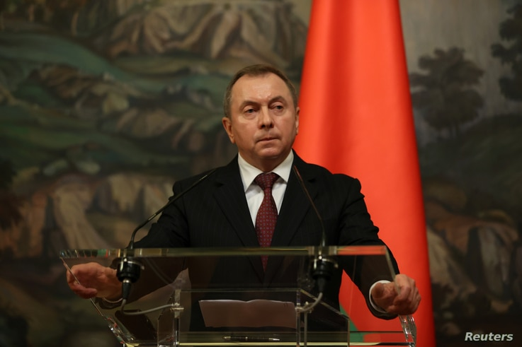Belarusian Foreign Minister Vladimir Makei speaks during a news conference following talks with his Russian counterpart Sergei…