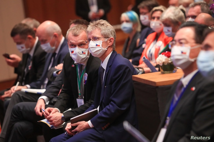 Czech Senate president Milos Vystrcil (C) and members of the Czech delegation attend a forum on supply chain restructuring in…