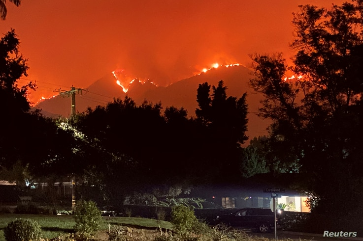 Bobcat fire approaches Sierra Madre and Arcadia communities in California, U.S.,  September 13, 2020 in this picture obtained…