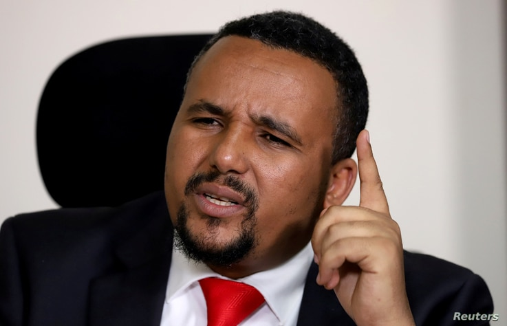 FILE PHOTO: Jawar Mohammed, an Oromo activist and leader of the Oromo protest speaks during a Reuters interview at his house in…