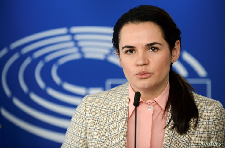 Belarusian opposition leader Sviatlana Tsikhanouskaya speaks during a news conference with European Parliament President David…