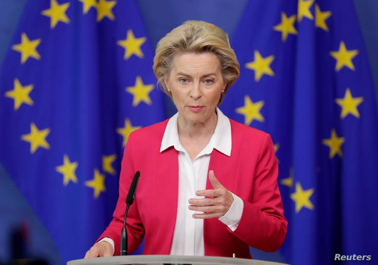 European Commission President Ursula von der Leyen talks to the press after the college of EU commissioners in Brussels,…