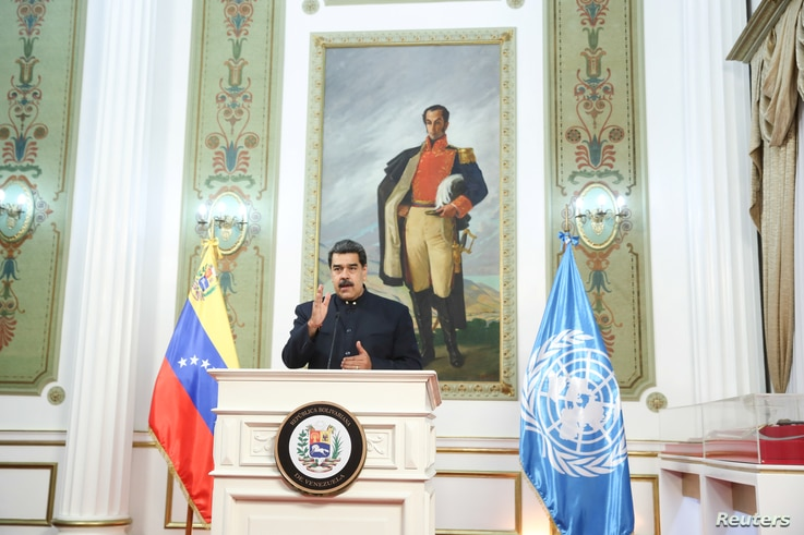 Venezuela's President Nicolas Maduro speaks virtually during the 75th annual U.N. General Assembly, which is being held mostly…