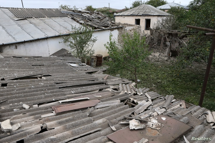 A view shows houses, that locals said were damaged during a recent shelling by Azeri forces, in the town of Martuni in the…