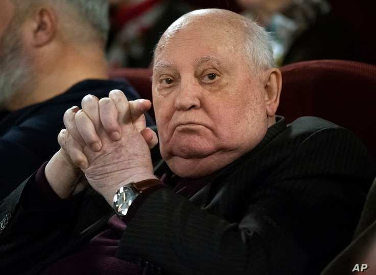 Former Soviet leader Mikhail Gorbachev attends the Moscow premier of a film made by Werner Herzog and British filmmaker Andre…