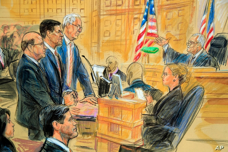 This courtroom sketch depicts former President Donald Trump's former national security adviser Michael Flynn, standing center,…