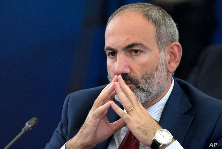FILE - On this Tuesday, Oct. 1, 2019 file photo Armenian Prime Minister Nikol Pashinyan attends the Eurasian Economic Council…