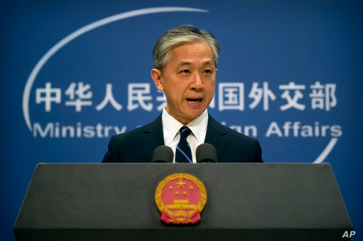 China's Ministry of Foreign Affairs spokesperson Wang Wenbin speaks during a daily briefing at the Ministry of Foreign Affairs…