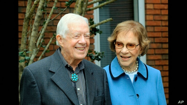 In this image from video, former President Jimmy Carter and former first lady Rosalynn Carter, seen in a photo as they speak on…