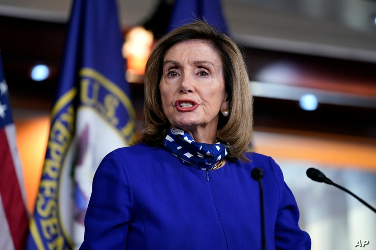 Speaker of the House Nancy Pelosi, D-Calif., speaks during a news conference at the Capitol in Washington, Aug. 27.