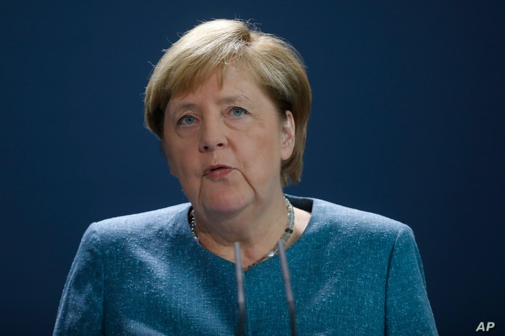German Chancellor Angela Merkel speaks to media during a statement about latest developments in the case of Russian opposition…