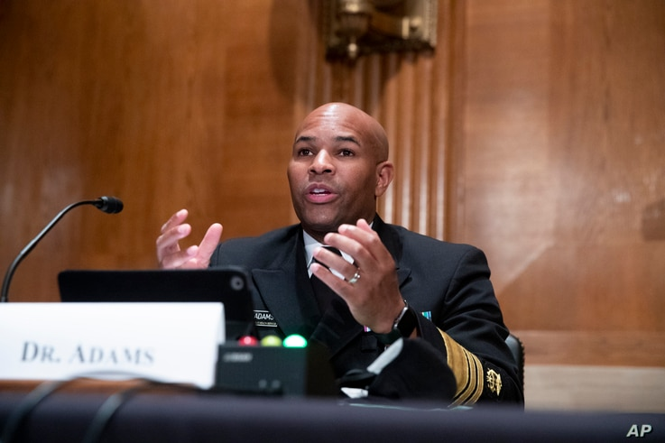 Surgeon General Jerome Adams appears before a Senate Health, Education, Labor and Pensions Committee hearing to discuss…