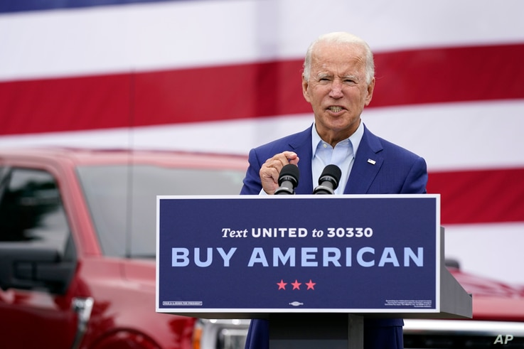 Democratic presidential candidate former Vice President Joe Biden speaks during a campaign event on manufacturing and buying…