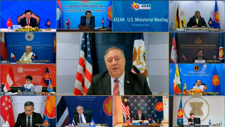 This image taken from video provided by VTV shows U.S. Secretary of State Mike Pompeo speaking during an online meeting with ASEAN foreign ministers, Sept. 10, 2020.