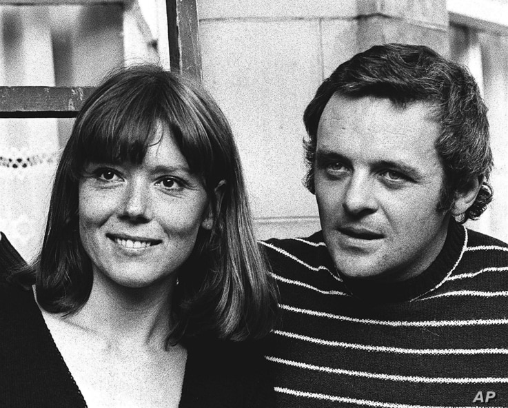 FILE - In this Sept. 20, 1972 file photo, British actress Diana Rigg and actor Anthony Hopkins attend the opening night of…
