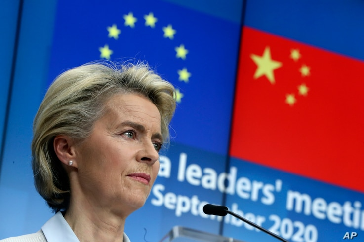 European Commission President Ursula von der Leyen during an online press conference with European Council President Charles…