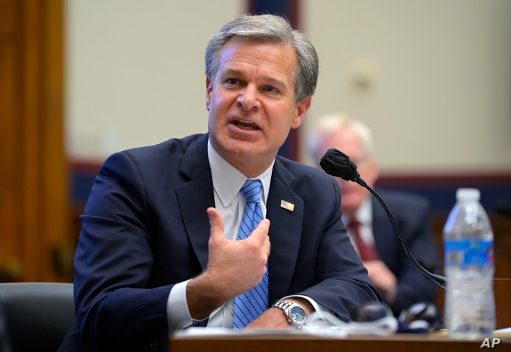 Federal Bureau of Investigation Director Christopher Wray testifies before a House Committee on Homeland Security hearing on …