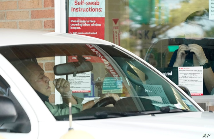 Pharmacy workers give instruction on how to administer a self COVID-19 nasal swab test at a drive-up CVS pharmacy in Dallas,…