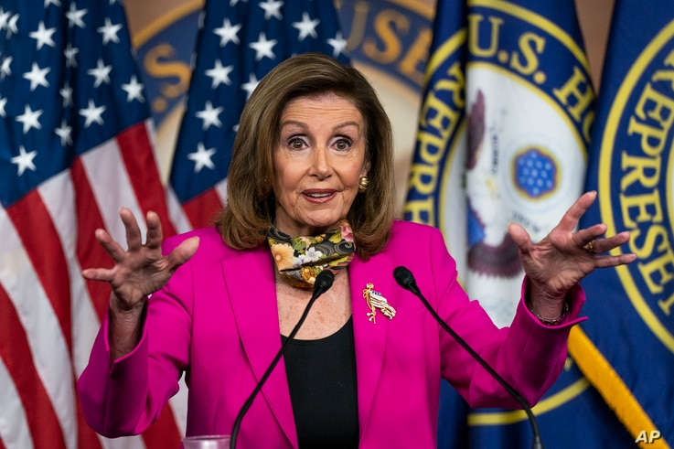 House Speaker Nancy Pelosi of Calif., speaks during a news conference on Capitol Hill, Friday, Sept. 18, 2020, in Washington. …