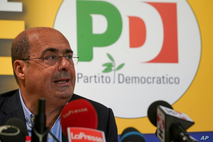 Democratic Party leader Nicola Zingaretti talks to the media during a press conference, in Rome, Sept. 21, 2020.