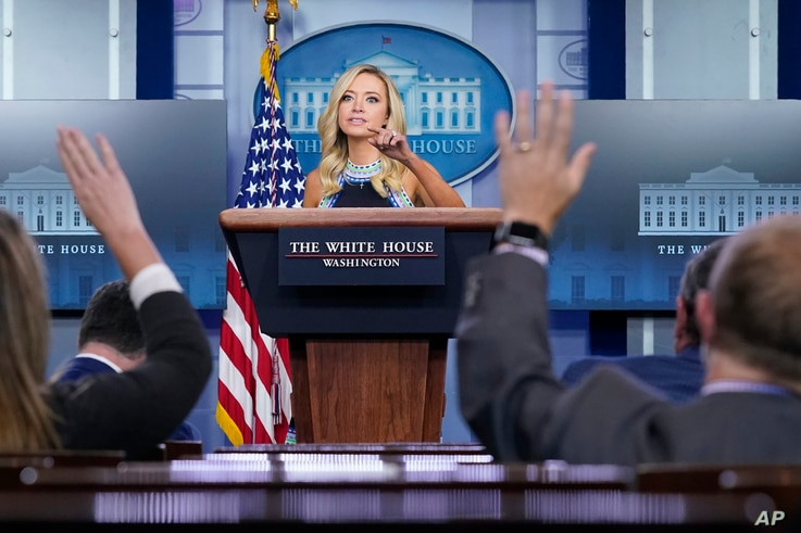 White House press secretary Kayleigh McEnany speaks during a news conference at the White House, Thursday, Sept. 24, 2020, in…