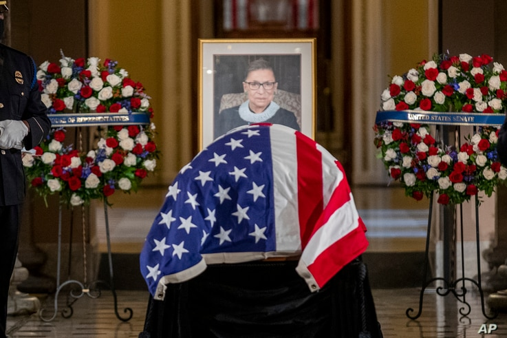 Justice Ruth Bader Ginsburg lies in state in Statuary Hall of the U.S. Capitol in Washington on Sept. 25, 2020.