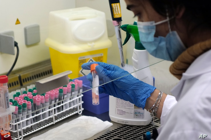 Seminar Kibir, health lab technician processes analysis of some nasal swab samples to test for COVID-19 at the Hospital of…