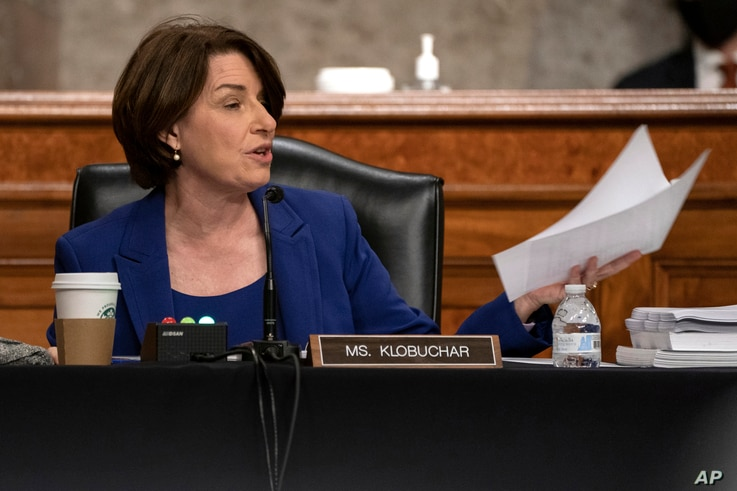 Sen. Amy Klobuchar, D-Minn., speaks during a Senate Judiciary Committee hearing on Capitol Hill in Washington, Wednesday, Sept…