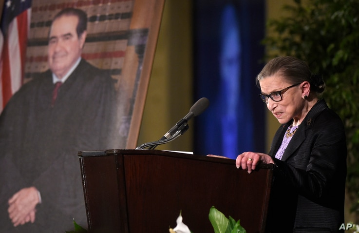 Supreme Court Justice Ruth Bader Ginsburg speaks at the memorial service for Supreme Court Justice Antonin Scalia, Tuesday,…