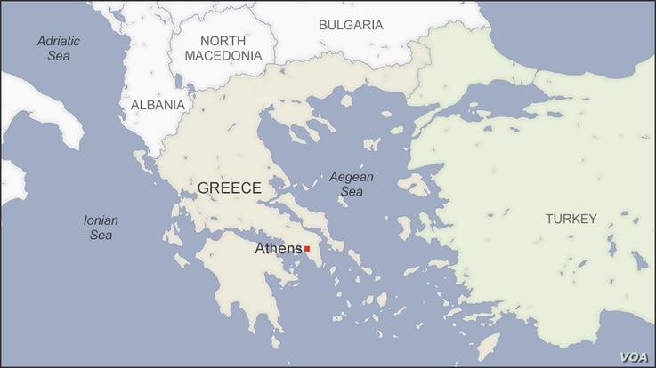 Map of the Aegean Sea, Greece and Turkey