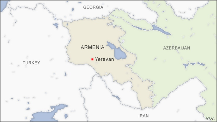 Map of Armenia and Azerbaijan