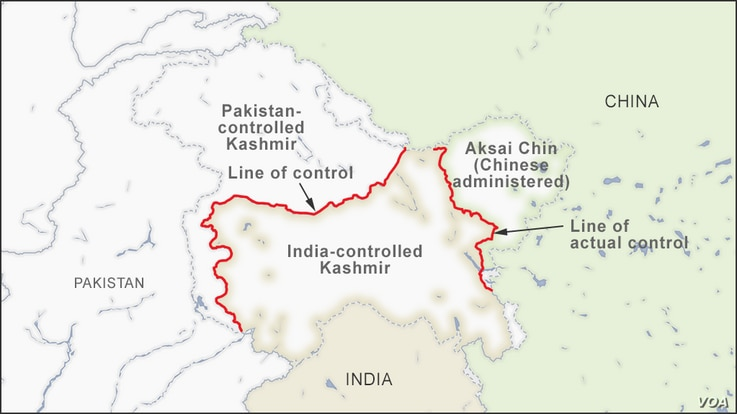 Map of Line of Actual Control between India and China