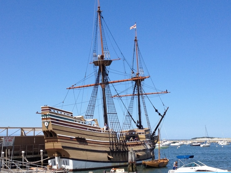 The Mayflower II, a replica of the Pilgrim's ship, at Plymouth, Mass., August 8, 2016. (Wikimedia Commons)