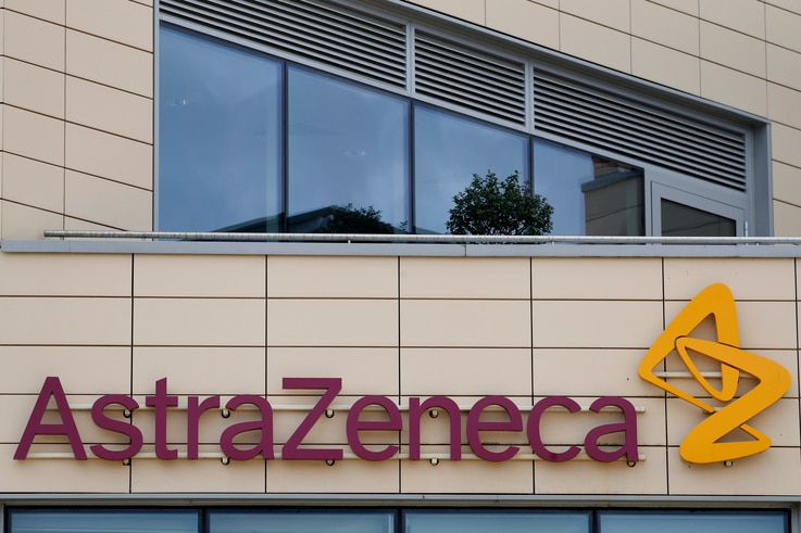 FILE - AstraZeneca offices and its corporate logo are seen on a building in Cambridge, Britain, July 18, 2020.