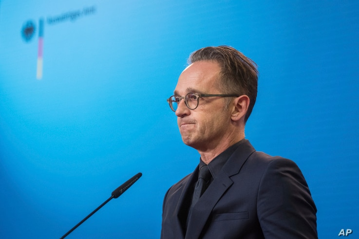 German Foreign Minister Heiko Maas attends a press conference at the Foreign Ministry in Berlin.