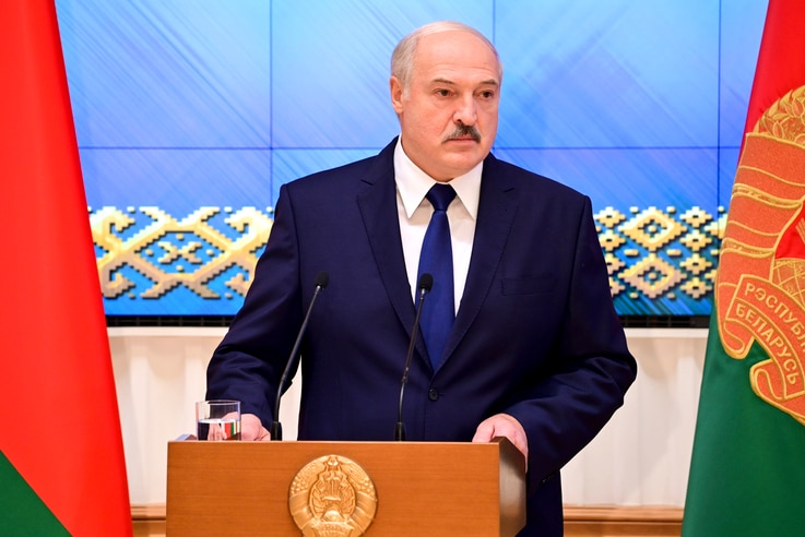 Belarusian President Alexander Lukashenko speaks during a meeting with the country's political activists in Minsk, Belarus, Sept. 16, 2020.