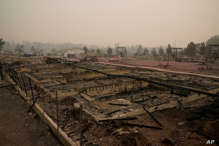 Rubble remains in an area destroyed by the Almeda Fire, in Talent, Oregon, Sept. 11, 2020.