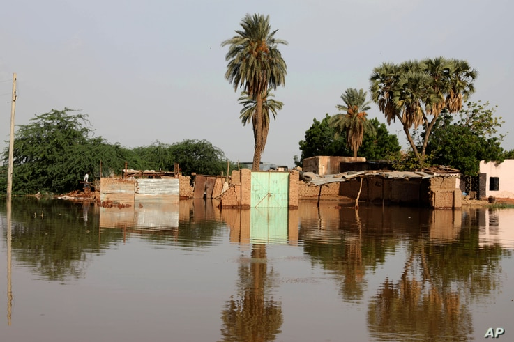 A flooded neighborhood is seen in the town of Omdurman, about 30 kilometers northwest of the capital Khartoum, Sudan, Aug. 26, 2020.